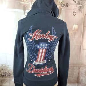 Harley Davidson Bling red white and blue Hoodie